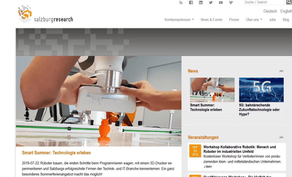 Screenshot Salzburg Research-Website